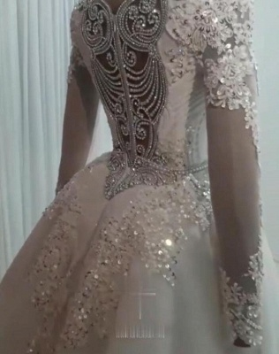 Long Sleeve Crystal Overskirt Lace Bridal Gowns_2