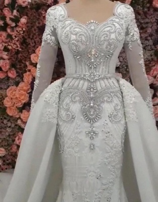 Long Sleeve Crystal Overskirt Lace Bridal Gowns_3