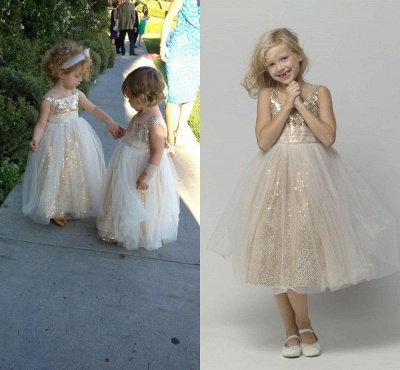 Cute A-line Sleeveless Straps Sequined Tulle Flower Girl Dresses_3