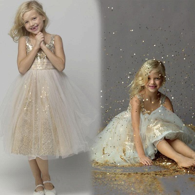 Cute A-line Sleeveless Straps Sequined Tulle Flower Girl Dresses_4