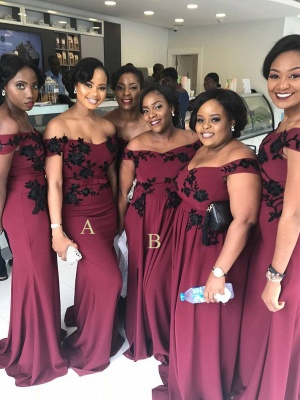 Cheap Burgundy Long Off The Shoulder Bridesmaid Dresses_1