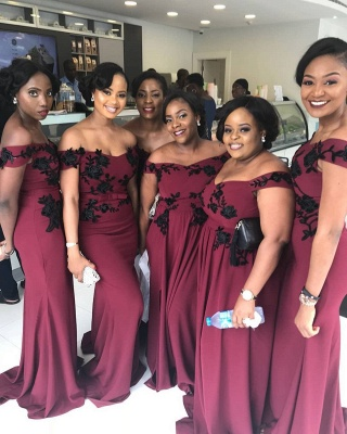 Cheap Burgundy Long Off The Shoulder Bridesmaid Dresses_2