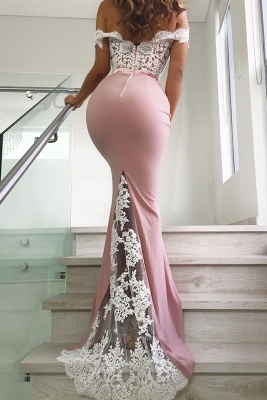 Off The Shoulder Mermaid Sexy Pink Lace Long Evening Dresses_3
