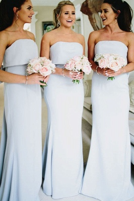 Simple Fashion Bowknot Strapless A Line Sleeveless Bridesmaid Dress On Sale_1