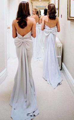 Simple Fashion Bowknot Strapless A Line Sleeveless Bridesmaid Dress On Sale_2