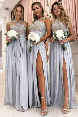 A Line Sleeveless Front Split Lace Bridesmaid Dresses_1