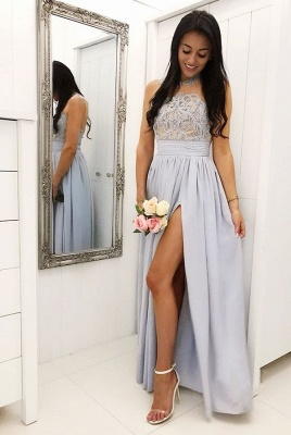 A Line Sleeveless Front Split Lace Bridesmaid Dresses_2