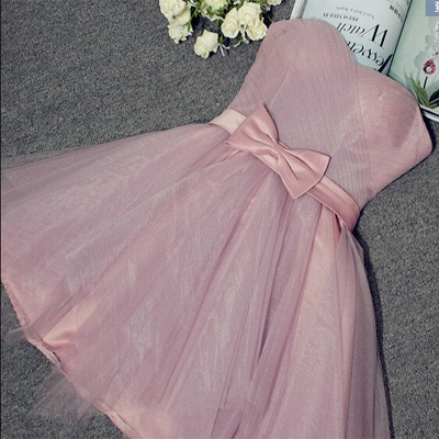 A-line Sweetheart Short Bow Homecoming Dresses_2
