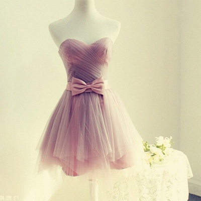 A-line Sweetheart Short Bow Homecoming Dresses_3