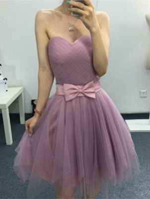 A-line Sweetheart Short Bow Homecoming Dresses_1