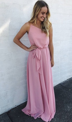 A Line Floor Length Sleeveless Pink Chiffon Prom Gowns_1