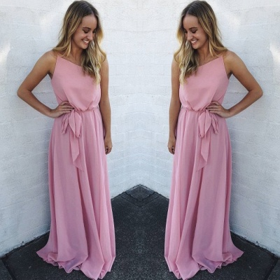 A Line Floor Length Sleeveless Pink Chiffon Prom Gowns_2