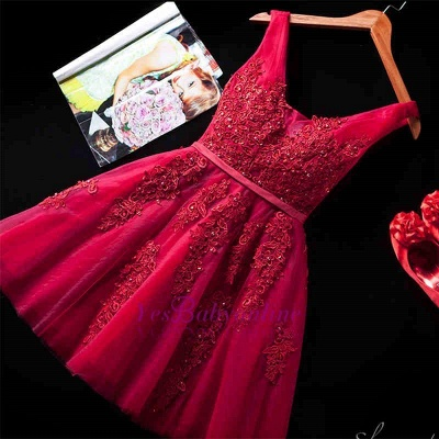 ADDILYNN | A-line Knee-length Tulle Prom Dress with Appliques_11
