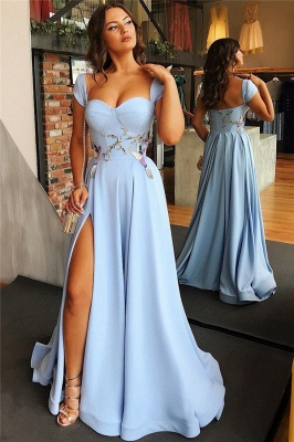 Sexy Side Slit Cap Sleeves Open Back Blue Evening Dresses_3