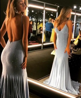 Spaghetti-Straps Mermaid Backless Crystal Prom Dresses_2