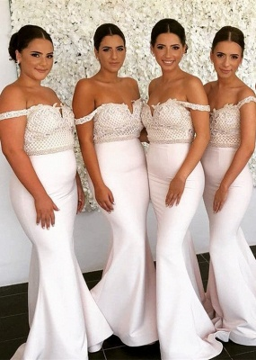 Cheap Ivory Lace Mermaid Bridesmaid Dress Off-the-shoulder_1