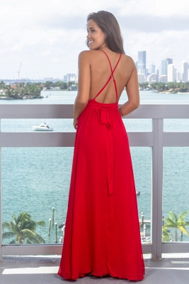 Strap Sleeveless Criss Cross Lace Red Prom Dress_4