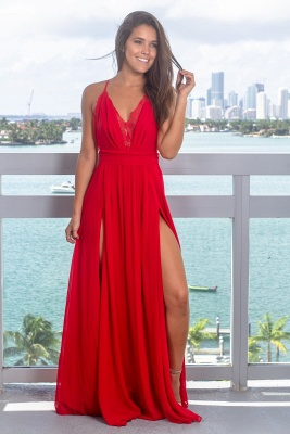 Strap Sleeveless Criss Cross Lace Red Prom Dress_2