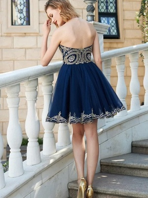 A-line Short Sweetheart Sleeveless Lace Homecoming Dresses_2