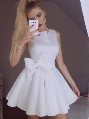 A Line Scoop Sleeveless White Mini Homecoming Dresses_1