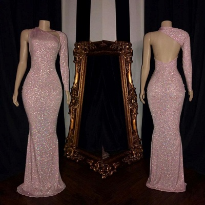 Long Sleeve Mermaid Pink Sequins Prom Dresses_2