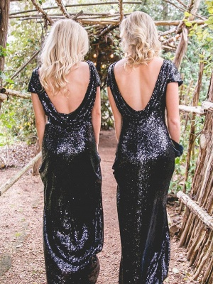 Sheath Long Black Sequin Mermaid Bridesmaid Dresses_2