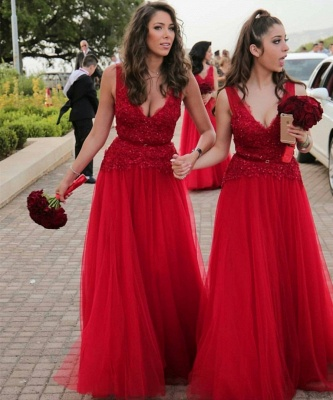 A-Line V-Neck Red Tulle Long Bridesmaid Dresses_2