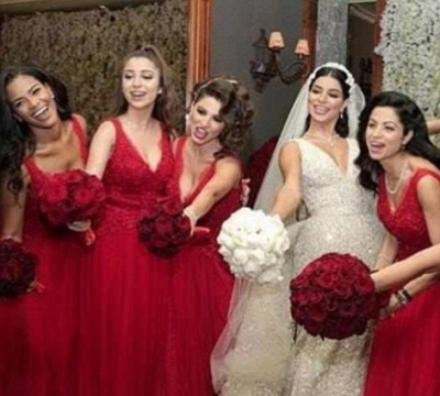A-Line V-Neck Red Tulle Long Bridesmaid Dresses_3