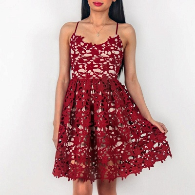 Sleeveless Short Spaghetti Strap Red Lace Homecoming Dresses_3