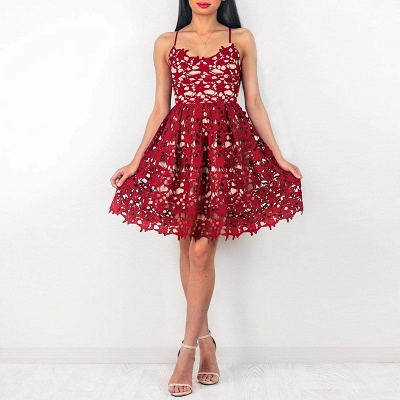Sleeveless Short Spaghetti Strap Red Lace Homecoming Dresses_4