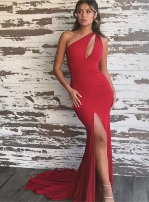 Red One Shoulder Mermaid Evening Gowns With Slit_5