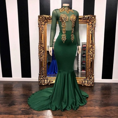 Mermaid Green Long Sleeves High-Neck Evening Gowns_2