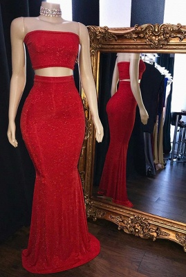 Mermaid Long Sequins Red Two Pieces Prom Dresses_1