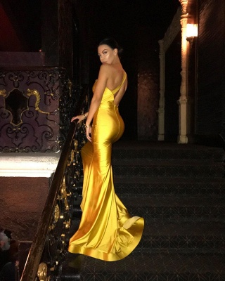Mermaid Sleeveless One-shoulder Yellow Evening Gown_2