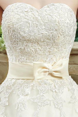 Cheap A Line Champagne Lace Sweetheart Strapless Bridal Gowns_5
