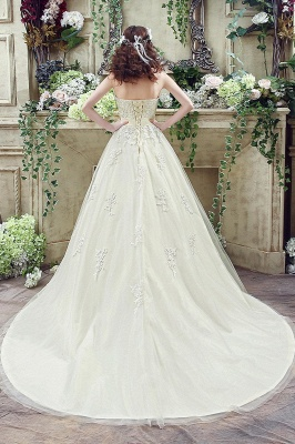 Cheap A Line Champagne Lace Sweetheart Strapless Bridal Gowns_7