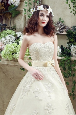 Cheap A Line Champagne Lace Sweetheart Strapless Bridal Gowns_4