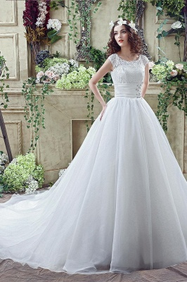 Cheap A Line Beaded Sleeveless Lace Wedding Gowns with Button_7