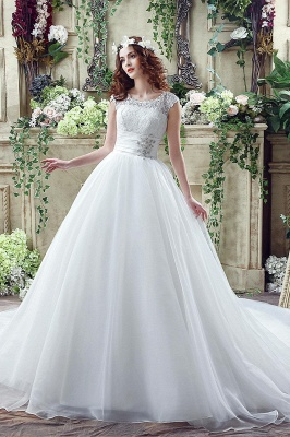 Cheap A Line Beaded Sleeveless Lace Wedding Gowns with Button_1