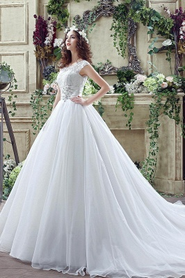 Cheap A Line Beaded Sleeveless Lace Wedding Gowns with Button_3