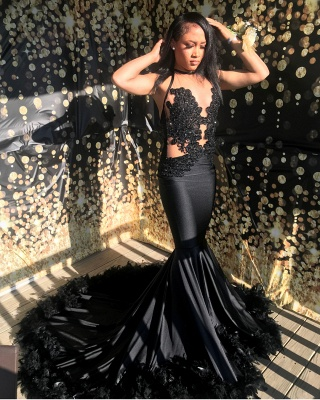 Sexy Black Lace Mermaid Evening Gowns With Feather_3