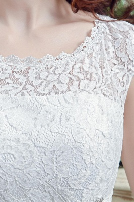 Cheap A Line Beaded Sleeveless Lace Wedding Gowns with Button_4