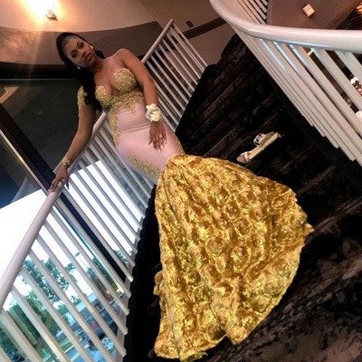 Mermaid Long Sleeve Yellow Evening Gown_3