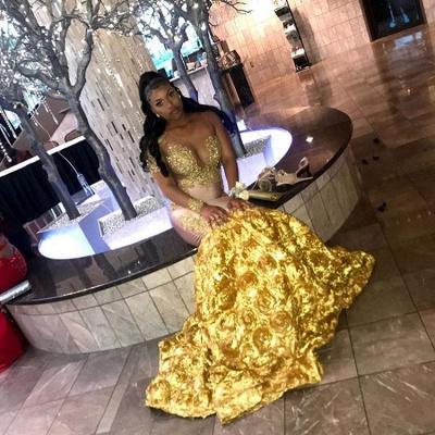 Mermaid Long Sleeve Yellow Evening Gown_2