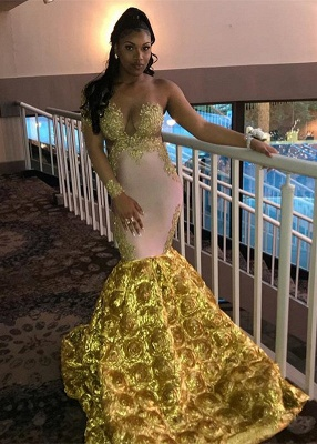 Mermaid Long Sleeve Yellow Evening Gown_1