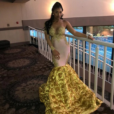 Mermaid Long Sleeve Yellow Evening Gown_4