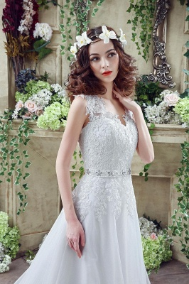 Cheap A line Lace Chiffon V Neck Bridal gowns with belt_2