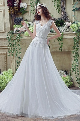 Cheap A line Lace Chiffon V Neck Bridal gowns with belt_1