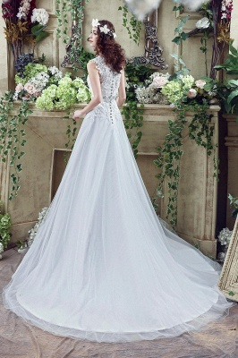 Cheap A line Lace Chiffon V Neck Bridal gowns with belt_3