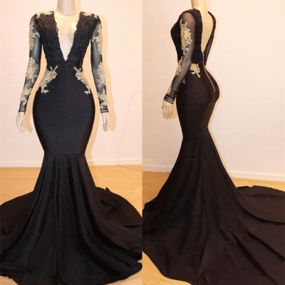 Long Sleeve Gold Lace V-Neck Black Prom Dresses_2